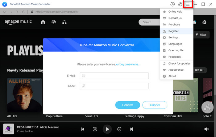 Register TunePat Amazon Music Converter